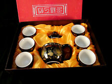 Japanese / Chinese / Oriental Ceramic Tea Set Tea Pot + Filter & 6 Cups Boxed