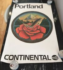 Continental Airlines Portland Travel Poster Vintage Original See Photos