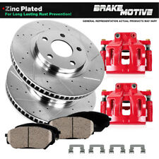 Front Red Calipers And Brake Pads + Rotors For 2005 2006 Nissan Titan Armada