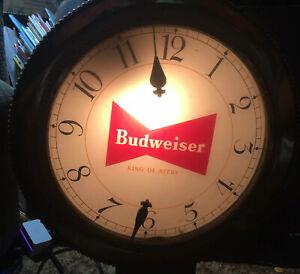 Vtg  Budweiser 2 Sided  Rotating Pocket Watch Lighted Sign W/ Lighted Fob Works