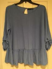 Apt 9 Womens Plus-sized Dressy Ruffled Knit Top Blouse Shirt - Periwinkle - 2X