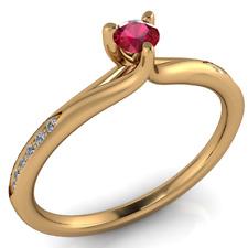 Super offerta! Anello in Oro 18Kt gr. 3,00 Rubino e Diamanti Naturali ct. 0,21!