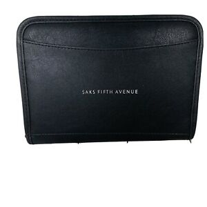 Saks Fifth Ave  Company Logo Leeds Leather Zippered Padfolio  Binder Notebook