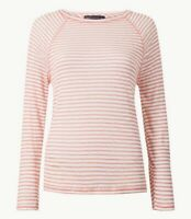 NEW PLUS SIZE 24 LADIES STRIPED REGULAR FIT TUNIC TOP MARKS & SPENCER PINK MIX