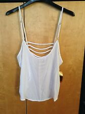 white nicki minaj shredded back tank top size L