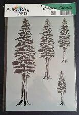 Stencil by Aurora Arts A4 redwood tree set 190mic Mylar craft stencil 076