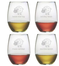 Stemless Wine Glasses Holiday Shear Christmas Set of 4 Etched Gifts Sheep