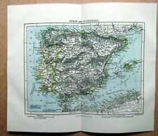 SPAIN AND PORTUGAL ~ Vintage 1910 Antique Folded Coloured Map