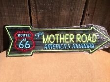"""Route 66 Mother Road This Way To Arrow Sign Novelty Metal 17"""" x 5"""""""