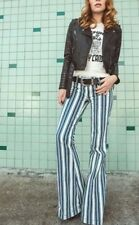 NEW Free People Retro Striped Flare Leg Low Rise Jeans Blue & White BoHo Sz 26
