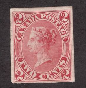 #20 Imperf - Canada First Cents QV - 1859 - 2 Cent -  MH NG - VF - superfleas