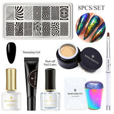 BORN PRETTY Color Changing Liquid With Stamping Plate Black Gel Nail Brush Kit