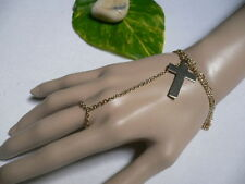 New Women Bracelet Cross Ring Gold Metal Hand Chains  To Wrist  Real Housewives