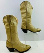 Ladies Code West Ivory Leather Round Toe Western Cowgirl Boots Size: 7 M