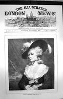 Original Old Antique Print 1872 Portrait Mrs Robinson Joshua Reyns Victorian