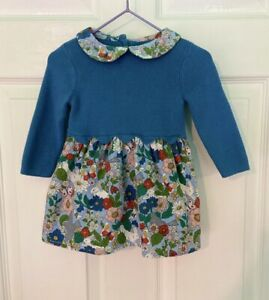 Mini Boden Scalloped Knit DRESS 3-6 m Blue Floral Spring Bunny Easter Butterfly