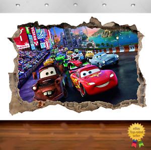 Cars Lightning McQueen 3d Smashed Wall View Sticker Poster Vinyl 674