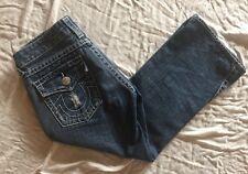True Religion Women's Joey Capri Jeans Blue Denim Distressed  USA Made Size 30