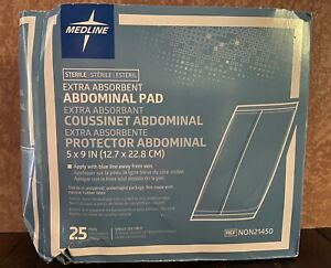 """25 PC Medline NON21450 Abdominal Extra absorbent Sterile Pads latex free 5""""x9"""""""
