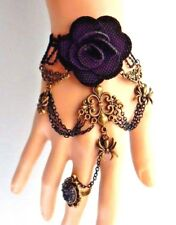 SPIDERS & ROSE SLAVE BRACELET gothic lolita lace black cuff & ring steampunk 5D