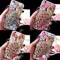 3D Bling Luxury Crystal Rhinestone Peacock Flower Diamond Hard Cover Case Skin