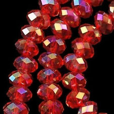 100 PCS , 4 X 6 mm Faceted Red Crystal Gemstone Abacus Loose Beads