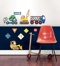 CONSTRUCTION ZONE 10 BiG Wall Decals DUMP TRUCK CRANE SIGNS Room Decor Stickers