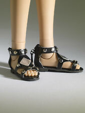 "Nu Mood Flat Black Sandals with metal studs #2 Flat 16"" Tonner Tyler MIB*"