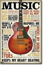 MUSIC INSPIRES ME GUITAR INSPIRATIONAL POSTER NEW 22x34 FAST FREE SHIPPING