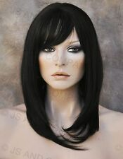 HUMAN HAIR Blend Wig Heat Safe Long Straight Off Black WBMN 1B