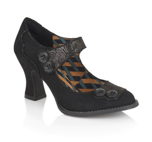 Ruby Shoo Penny Black Womans Heel Mary Jane Patent Button Strap Court Shoe