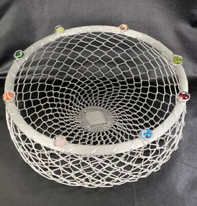 "Handcrafted Woven Wire Basket Round Silver Plated Metal Storage 13.5""D X 5.5"" T"