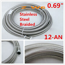 "AN12 12-AN AN-12 Braided Stainless Steel 0.69"" Turbo Air Fuel Line Hose Tube"
