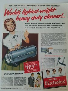 1955 blue Electrolux world's lightest weight heavy-duty vacuum cleaner ad