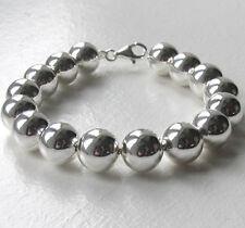 """12mm Italian Sterling Silver Large Ball Bracelet, Length 8"""""""