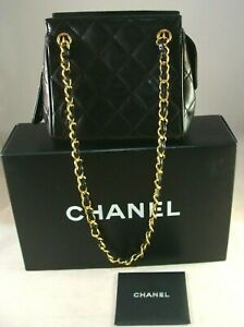 CHANEL CC Double Chain Shoulder Mini Caviar Leather Black Leather Bag Italy