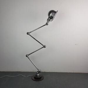 VINTAGE INDUSTRIAL STRIPPED AND POLISHED JIELDE FLOOR STANDARD LAMP #2252
