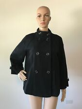 Gap Black 100% Wool Flared A-Line Jacket Coat Double Breasted Stand Collar M