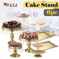 6pcs Set Crystal Decor Metal Cake Holder Wedding Dessert Stand Cupcake Plates US