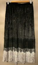 Zara Beautiful Black Velvet Lace Trim Skirt - Size Medium