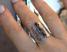 Statement Ring 925 Silver Triple Hematite Cabochon Size UK W EU 65 US 11