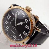 46mm PARNIS Black dial Leuchtzeiger 6497 Handaufzug Mechanical Uhr men's Watches