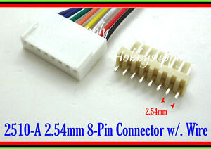 20 x 8Pin way 2510 2.54mm male female connector housing adapter wire cable 30cm