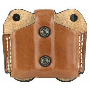 Desantis Gunhide Ambidextrous Tan Leather Double Magazine Pouch Single Stack 380