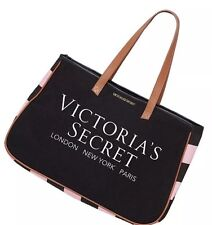 Victoria's Secret Black Canvas Pink Stripe Large London Travel Tote Logo Bag New