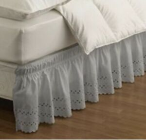Easy Fit Wrap Around Eyelet Ruffled Bed Skirt Grey Twin/Full Open Packaging