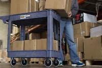 Heavy Duty Cart With Wheels Rolling Utility Service Shop Plastic Garden Tool