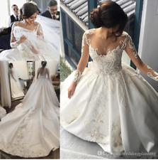 2018 Vintage Luxury Beaded Wedding Dress A Line Illusion Bridal Gown Custom Size