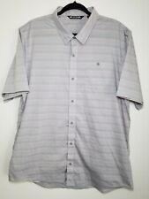 Travis Matthew Men's Blue Gray Pink Short Sleeve Golf Button Down Shirt XXL $85