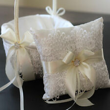 2 Wedding Baskets and 1 Ring Pillow / Ivory Lace Wedding Basket and Pillow Set